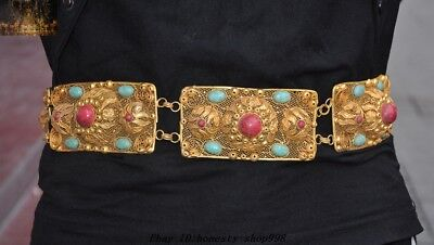 Old Chinese Royal Palace Silver 24k Gold inlay Turquoise coral Waist Belt Girdle