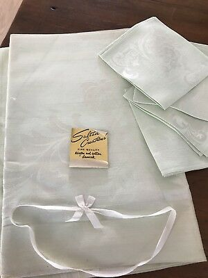 Sultan Creations NOS Damask Tablecloth Matching Napkins NWT Seafoam Green