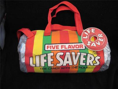 Colorful Vintage Life Savers Candy Five Flavor Cloth Duffle Bag Suitcase & Tag