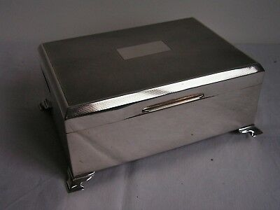 LARGE VINTAGE SOLID SILVER CIGARETTE BOX William Adams BIRMINGHAM 1935
