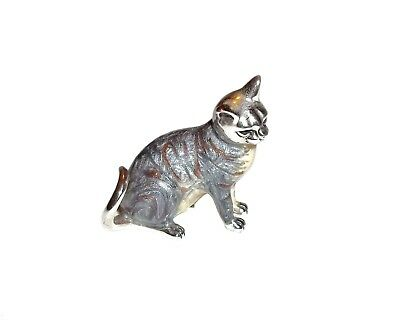 Tiny Sterling Silver Cat Sculpture, Enamel Grey Tabby, Signed AR, 925, 3.4 cms