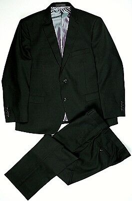 Vitali Men's Two Button Two Piece Polyester Suit Black 42S