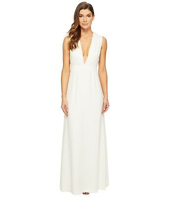 56d0fd5c3183 Jill Stuart Sleeveless Deep V Side Cut out Satin back Crepe Gown Off White  Size