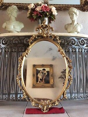 Antique Rococo Style Ornate Gold Oval Hanging Wall Mirror Home Decor