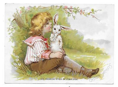Victorian Trade Card Woolson Spice Co.-Lion Coffee Easter Secrets Rabbit