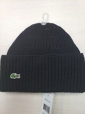 69dbb3098a066 Lacoste Turn Up Ribbed Wool Beanie Hat in Black
