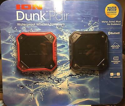 ION Audio Dunk Water-Resistant Bluetooth Speaker, 2 Pack - Black and Red