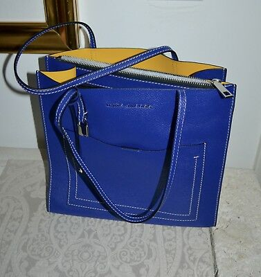 abc372df9972 $395 NWT MARC Jacobs New GRIND T-Pocket Tote Bag Academy Blue Leather