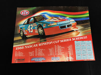 VINTAGE RICHARD PETTY 1988 Winston Cup Series Schedule 18x24 Poster