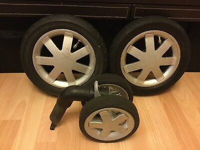 Quinny Buzz Full Set Of Silver  Wheels, Two Rear, One Front,   (ref 1)