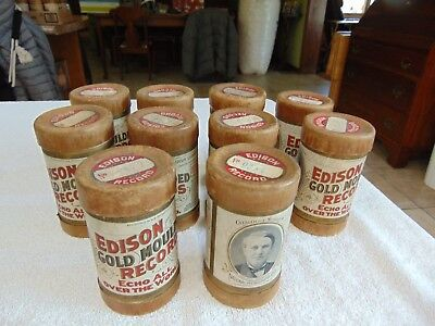 10 Antique Edison Gold Moulded Cylinder Records