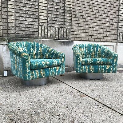 Vintage Pair Of Milo Baughman Style Swivel Lounge Chairs