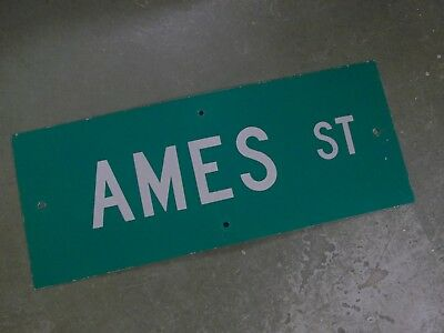 "Vintage Original AMES ST Street Sign 30"" X 12"" White Lettering on Green"