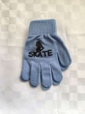 Magic Stretch Ice Skating Gloves Blue age 7/16 BRAND NEW