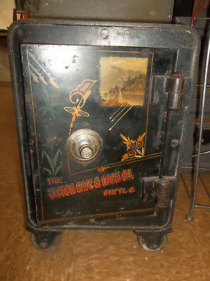 Antique 1880's Victor Safe And Lock Co Small Floor Safe