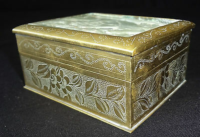 20CT CHINESE INCISED BRASS HINGED BOX w. SERPENTINE CARVED PLAQUE (Ray)