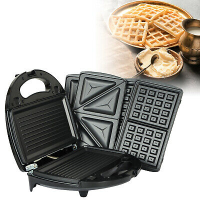 Kitchen 3 In 1 Sandwich Toaster Waffle Maker Iron Toast Grill Panini Press 750W