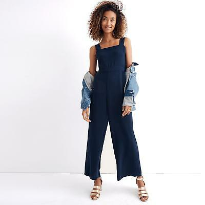 Madewell Nwt 6 Apron Bow Back Jumpsuit Navy Blue Sleeveless Wide Leg