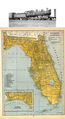 Florida Railroad Map.Old Railroad Map Florida Railroads Matthews 1894 23 X 46 65