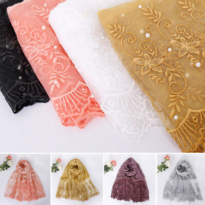 Women Pearl Lace Plain Cotton Shawl Scarf Muslim Hijab Wrap Large Scarves Stole