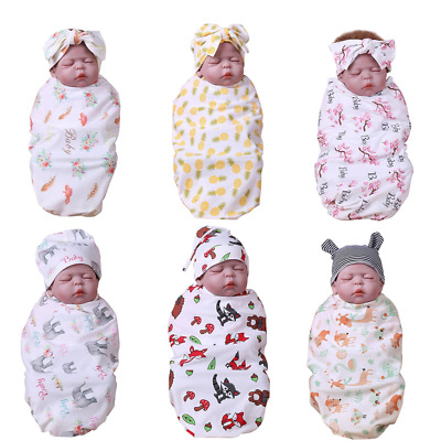 Newborn Baby Swaddle Wrap Swaddling Sleeping Bag Blanket + Hat Headband Set 0-6M