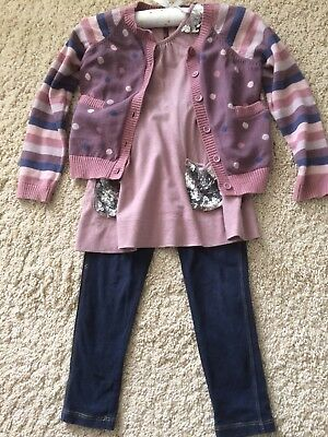Girls French Connection Cardigan, Top And Leggins Outfit Age 4-5 Years