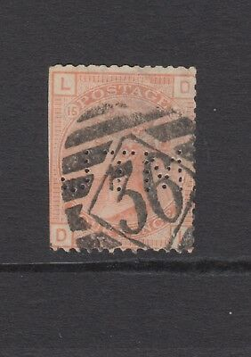 """GB QV 4d Vermilion SG152 Plate 15 Four Pence """"DL"""" Used Stamp PERFIN Large Garter"""