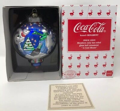 """Coca-Cola 2003 Glass Ball Ornament Bas-Relief """"A Cool Skate"""" Members Only NEW!!!"""