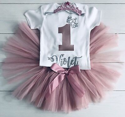 Girls Personalised 1st First Birthday Outfit Tutu Skirt Cake Smash Rose Gold Set