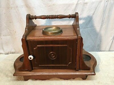 Vtg Lg Tobacco Pipe Smoking Stand Humidor Cabinet Table Wood Mid Century Ashtray