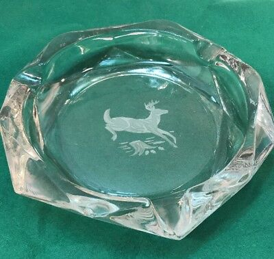 Vtg mid-century Heavy CHUNKY Clear Glass Cigar Hunter Cabin ASHTRAY Buck Deer