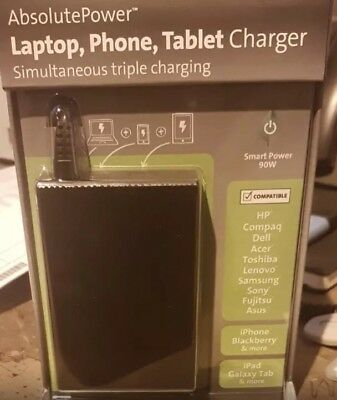 Kensington ABSOLUTE POWER K38080EU 90W LAPTOP-PHONE-TABLET CHARGER triple Charge