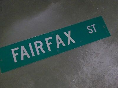 "Vintage Original FAIRFAX ST Street Sign 42"" X 9"" White on Green"