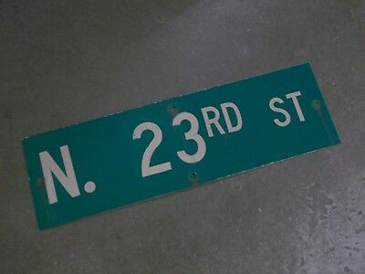"Vintage Original N 23RD ST  Street Sign 30"" X 9"" ~ White on Green"