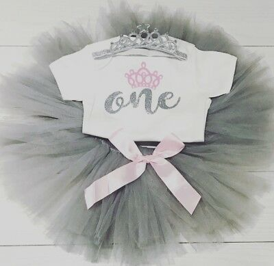 Luxury Baby Girls First 1st Birthday Outfit Tutu Skirt Top Cake Smash Grey Pink