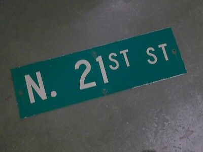 "Vintage Original N 21ST ST  Street Sign 30"" X 9"" ~ White on Green"