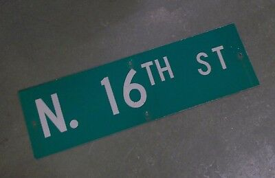 "Vintage Original N. 16TH ST  Street Sign 30"" X 9"" ~ White on Green"