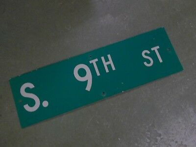 "Vintage Original S. 9TH ST  Street Sign 30"" X 9"" ~ White on Green"