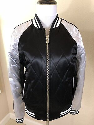 7f8b867ef56ed New Without Tags: Women's TOPSHOP Black & Silver Bomber Jacket US 6/EU 38