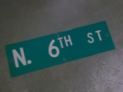 "Vintage Original N. 6TH ST  Street Sign 30"" X 9"" ~ White on Green"