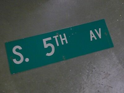 "Vintage Original S. 5TH ST  Street Sign 30"" X 9"" ~ White on Green"