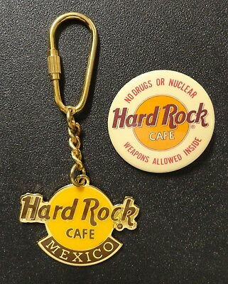 Old Hard Rock Cafe Yellow Logo Mexico Keychain and Button Style Pin Pinback z3