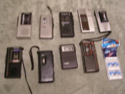 Lot of 9 Vintage Dictaphone Micro Cassette Player Recorders Sony Panasonic GE +