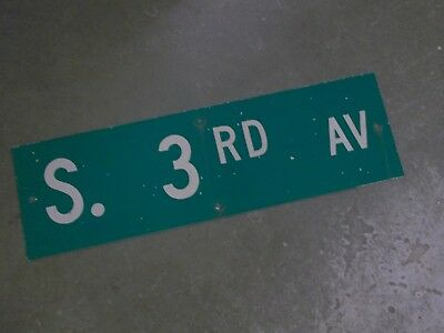 "Vintage Original S. 3RD AV  Street Sign 30"" X 9"" ~ White on Green"