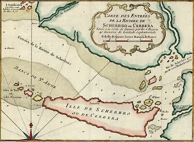 West Africa coast Sierra Leone Scherbro Cerbera 18th century hand color old map