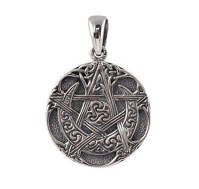 Sterling Silver Moon Pentacle Pendant - Dryad Design Wicca/Pagan Amulet/Talisman