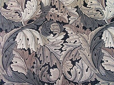 William Morris Curtain Fabric 'ACANTHUS' 2 METRES (200cm) Charcoal/Grey Velvet