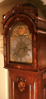Antique Tall Dutch  Walnut  Automation Eyes  Longcase / Grandfather Clock