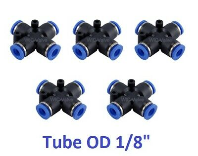 """Pneumatic Cross Union Tube OD 1/8"""" Inch Push In To Connect Air Fitting 5 Pieces"""