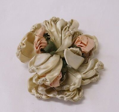 EDWARDIAN Satin RIBBON ROSETTE Pink Roses Ruched for Millinery, Doll, Dress